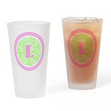 Lime Paisley Monogram-L Drinking Glass