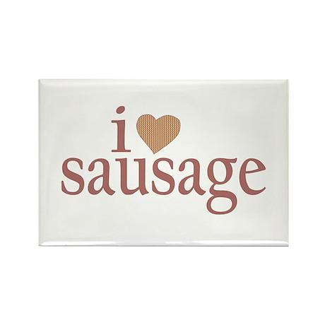 I Love Sausage Rectangle Magnet
