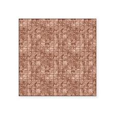 "Beige and bronze tile art Square Sticker 3"" x 3"""