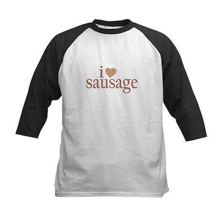 I Love Sausage Kids Baseball Jersey