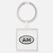 AM Metal Square Keychain