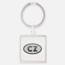 CZ Metal Square Keychain