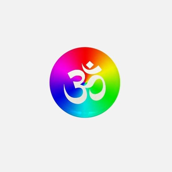 Om On Rainbow Mini Button