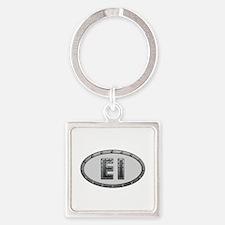 EI Metal Square Keychain