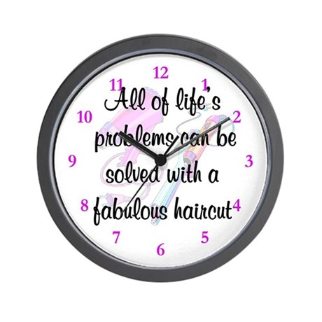 hair stylist wall clock by jlpboutique. Black Bedroom Furniture Sets. Home Design Ideas