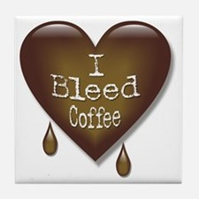 I Bleed Coffee Heart Tile Coaster