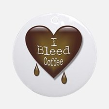 I Bleed Coffee Heart Ornament (Round)