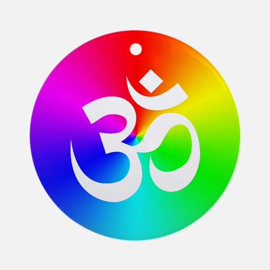Om On Rainbow Ornament (Round)