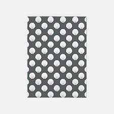 Gray | White Clamshells Seashells 5'x7'Area Rug
