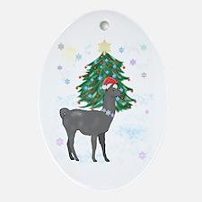 Santa Llama Oval Ornament