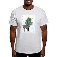 Santa Llama Ash Grey T-Shirt