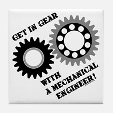 Black Get In Gear Tile Coaster