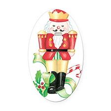 christmas nutcracker holly and can Oval Car Magnet