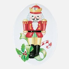 christmas nutcracker holly and candy Oval Ornament