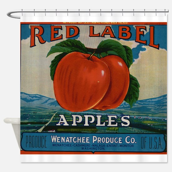 Vintage Fruit Vegetable Crate Label Shower Curtain