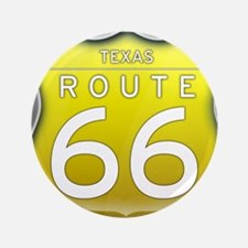 "Texas Route 66 - Yellow 3.5"" Button"