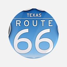 "Texas Route 66 - Blue 3.5"" Button"