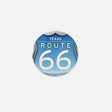 Texas Route 66 - Blue Mini Button
