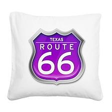 Texas Route 66 - Purple Square Canvas Pillow