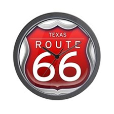 Texas Route 66 - Red Wall Clock