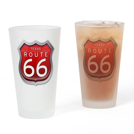 Texas Route 66 - Red Drinking Glass