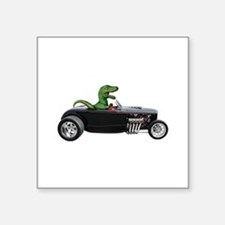 "T-rex Hot Rod Square Sticker 3"" x 3"""