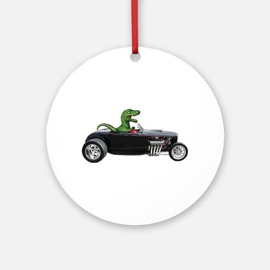 T-rex Hot Rod Ornament (Round)