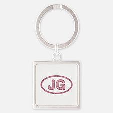JG Pink Square Keychain