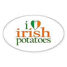 I Love Irish Potatoes Oval Decal