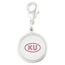 KU Pink Silver Round Charm