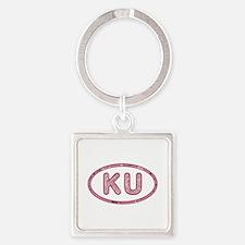 KU Pink Square Keychain