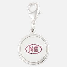 NE Pink Silver Round Charm