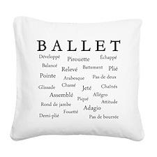 Ballet Words Square Canvas Pillow