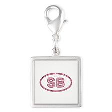 SB Pink Silver Square Charm