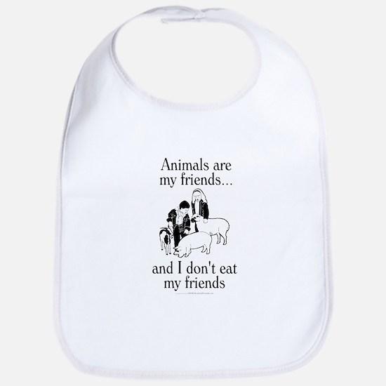 Animals are my friends Bib