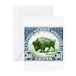 Antique 1923 U.S. American Bison Postage Stamp Gre