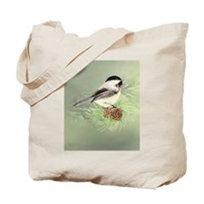 Watercolor Chickadee Bird in pine tree Tote Bag