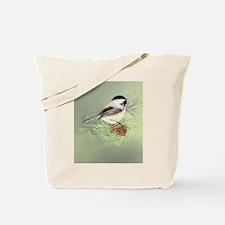 Watercolor Chickadee Bird in pine tree Tote Bag