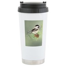 Watercolor Chickadee Bird in pine tree Travel Mug