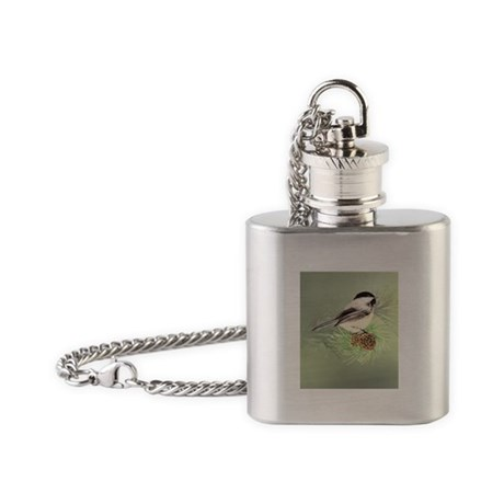 Watercolor Chickadee Bird in pine tree Flask Neckl