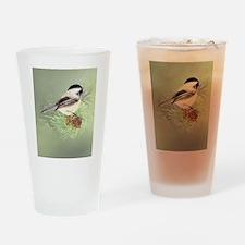 Watercolor Chickadee Bird in pine tree Drinking Gl