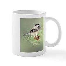 Watercolor Chickadee Bird in pine tree Mugs