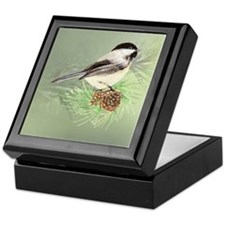 Watercolor Chickadee Bird in pine tree Keepsake Bo
