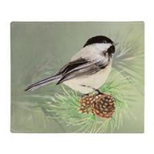 Watercolor Chickadee Bird in pine tree Throw Blank