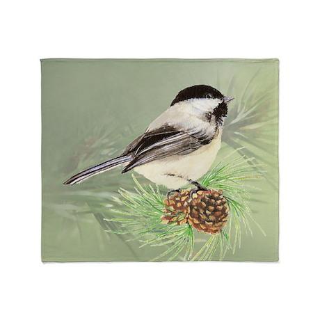 Watercolor Chickadee Bird in pine tree Throw Blank