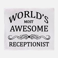 World's Most Awesome Receptionist Throw Blanket
