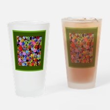 berries square green border Drinking Glass