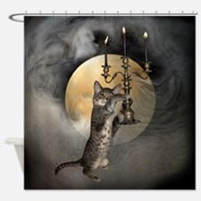 Cat Candles Moon Shower Curtain