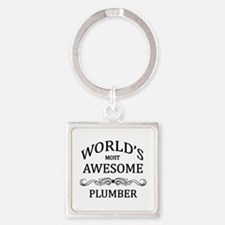 World's Most Awesome Plumber Square Keychain