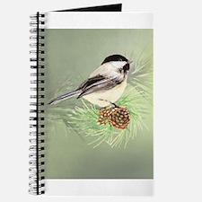 Watercolor Chickadee Bird in pine tree Journal